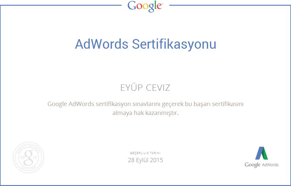 eyüp ceviz adwords uzmanlık sertifikası